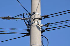 Cable lines on a pole Stock Image