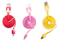 Cable Micro-USB. The Micro usb cables on a table Stock Image