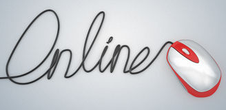 Cable and mouse online hand script write. 3d high quality render Royalty Free Stock Photography