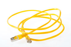 Cable for network. In yellow on a white background Royalty Free Stock Image