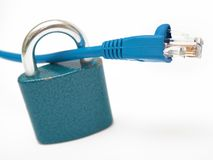 Cable and padlock Stock Photography