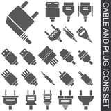 Cable and plug icons set Stock Image