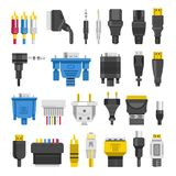Cable ports jacks different digital outputs vector flat  Royalty Free Stock Image