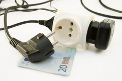 Cable power euro 20. On a white background Stock Image