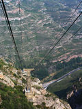 Cable railway. Background: The Montserat's cable railway and mountains (Spain Stock Image