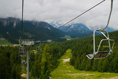 Cable railway. At the dolomites, italy Stock Photo