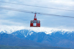 Cable railway. And high mountain Royalty Free Stock Images