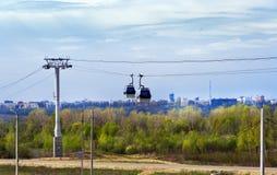 Cable railway above Volga river in Nizhny Novgorod Royalty Free Stock Image