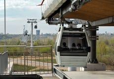 Cable railway above Volga river in Nizhny Novgorod Royalty Free Stock Photos