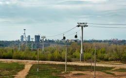 Cable railway above Volga river in Nizhny Novgorod Royalty Free Stock Photography