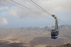 Cable railway cabin on Teide Stock Photo