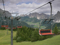 Cable railway in The Dolomites, Corvara, Italy Stock Photography