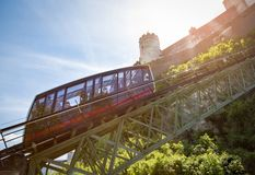 Cable railway, fortress funicular to the Hohensalzburg castle Royalty Free Stock Image