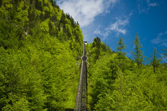 Cable railway from Hallstatt up to salt mine Royalty Free Stock Photos