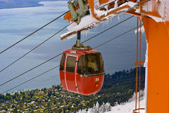 Cable railway by a lake royalty free stock image