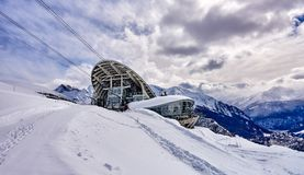 The cable railway to Monte Bianco in Courmayeur Italy - a very Royalty Free Stock Photos