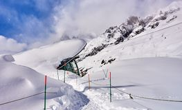 The cable railway to Monte Bianco in Courmayeur Italy - a very. Popular ski resort in Europe Royalty Free Stock Photo