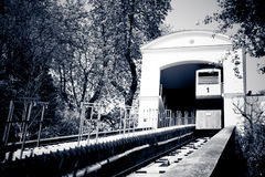 Cable railway in Zagreb, Croatia. City sightseeing attraction. Black and white monochrome Royalty Free Stock Images