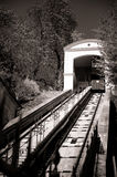 Cable railway in Zagreb, Croatia. City sightseeing attraction. Black and white monochrome Royalty Free Stock Photos