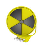 Cable reel. One 3d render of a cable reel made with the nuclear symbol and a plug. Concept of nuclear energy stock illustration