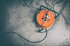 Cable reel with Black Cable stock photography