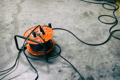 Cable reel with Black Cable royalty free stock photos