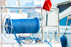 Cable reel with a rope on the deck Stock Photos