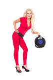 Cable reel and skillful woman. On isolated white background Stock Photos