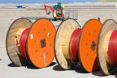 Cable reels. At a construction site Royalty Free Stock Photography