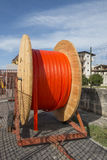 Cable reels and road construction stock images