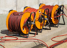 Cable reels. On the street stock image