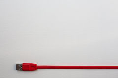 Cable rojo del USB Fotografía de archivo