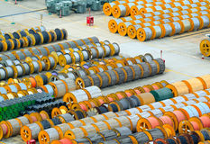 Cable roll and transformer on the floor Royalty Free Stock Image