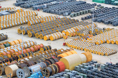 Cable roll and transformer on the floor Royalty Free Stock Photo