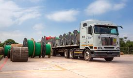 Cable rolls on a truck. royalty free stock image