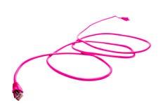 Cable rosado del ordenador Imagen de archivo libre de regalías