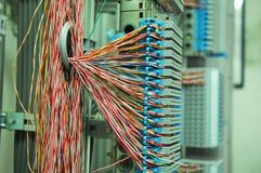 Cable sand panel. Telephone cable panel and cables Stock Photo