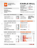 Cable Service Phone Bill Document Sample Template