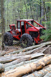 Cable skidder and logs royalty free stock photos