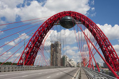 Cable-stayed bridge. Moscow cable-stayed bridge (Zhivopisny Bridge Royalty Free Stock Photo