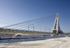 Cable-stayed bridge. The Cable-stayed bridge was taken in this winter Royalty Free Stock Photo