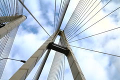 Cable-stayed bridge. In the sky stock photography