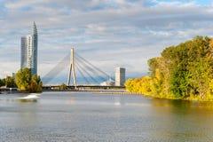 Cable stayed bridge across Daugava Stock Images