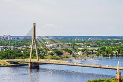 Cable-stayed bridge across the Daugava river in Riga, Latvia Royalty Free Stock Photo