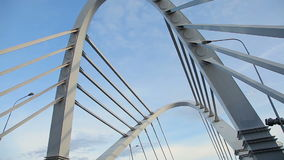 Cable-stayed bridge across the river stock video