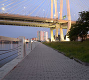 Cable Stayed Bridge And Embankment Of Neva River. Royalty Free Stock Images