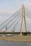 Cable-stayed Bridge And The Beach In Riga, Latvia Stock Photos