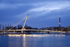 Cable Stayed Bridge At Night Stock Photography
