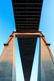 Cable-stayed bridge Bridge pier. A bridge linking the two sides, it looks like a cross Stock Images