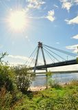 Cable-stayed bridge. Royalty Free Stock Photo
